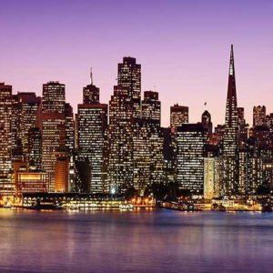 The San Francisco skyline as seen at night